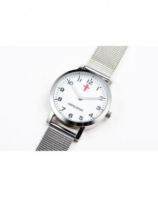 ホワイト×レッド AFB ディスク秒針 メッシュベルト腕時計|UNISEX見る