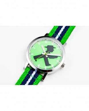 グリーン×ブラック AFB 信号機 ストライプベルト腕時計|UNISEX見る