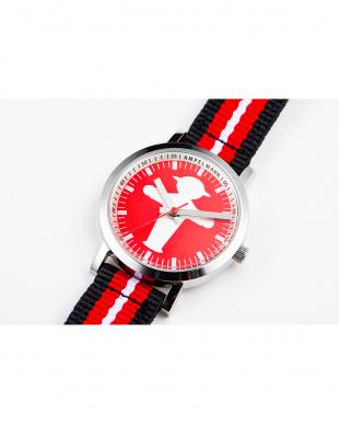 レッド×シルバー AFB 信号機 ストライプベルト腕時計|UNISEX見る