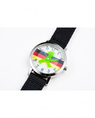 シルバー×ドイツ国旗 AFB ディスク秒針腕時計|UNISEX見る