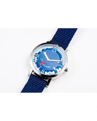 ネイビー×レッド AFB ドイツ街並み ディスク秒針腕時計|UNISEX見る