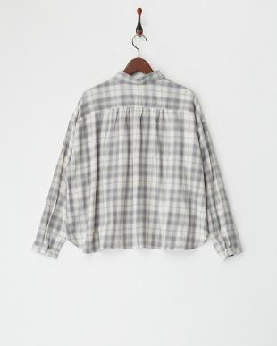 グリーン レーヨン混チェックシャツを見る
