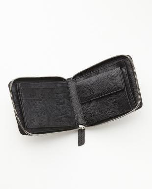 ネイビー クロコダイルパッチワークラウンドファスナー二つ折り財布見る