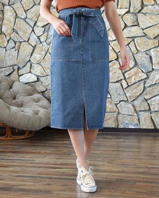 ブルー デニムタイトリボンスカートを見る