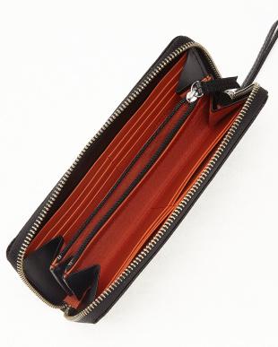 ブラック×オレンジ 型押しコンビ ラウンドファスナー長財布を見る