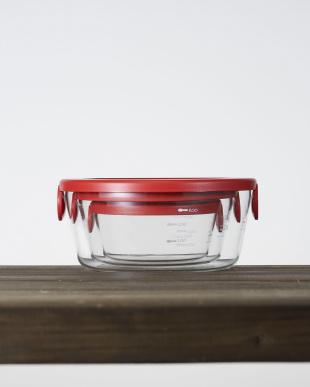レッド 耐熱ガラス製保存容器丸 3個セット見る