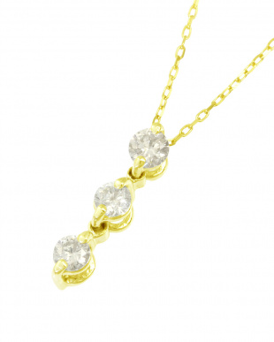 K18YG 天然ダイヤモンド0.1ct スリーストーン ネックレスを見る