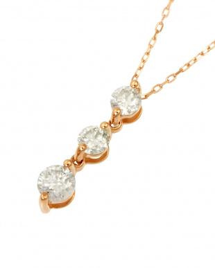 K18PG 天然ダイヤモンド0.3ct スリーストーン ネックレスを見る