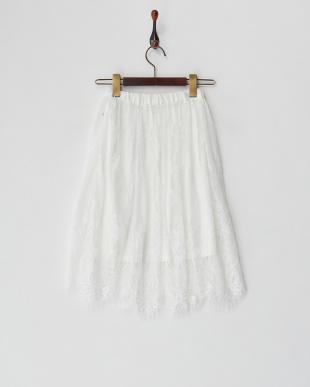 ホワイト レースレイヤードスカート(130以下)見る