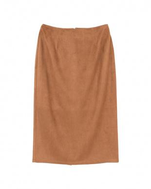 ブラウン フェイクスエードタイトロングスカート見る