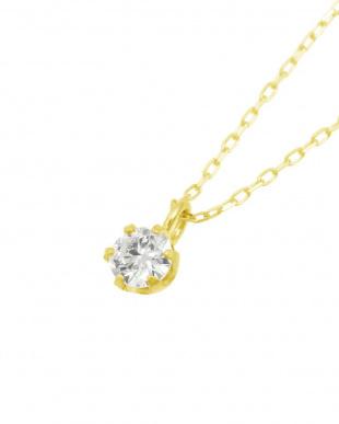 K18YG  天然ダイヤモンド 0.1ct VSクラス 6本爪ネックレス 鑑定書付見る