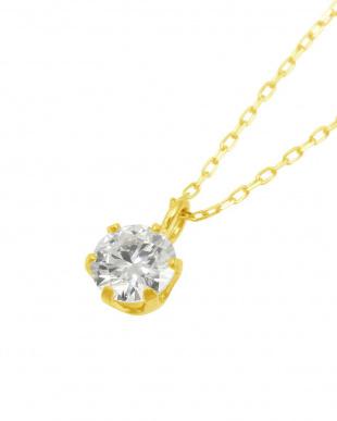 K18YG  天然ダイヤモンド 0.3ct VSクラス 6本爪ネックレス 鑑定書付見る