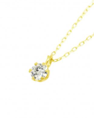 K18YG  天然ダイヤモンド 0.1ct VVSクラス 6本爪ネックレス 鑑定書付見る