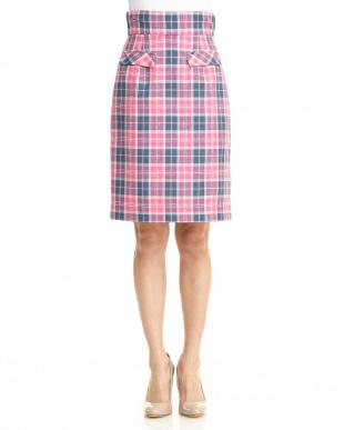 ピンク フェイクポケットチェックタイトスカートを見る