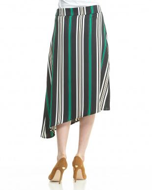グリーンブラック 変形ヘム ラップ風ストライプ柄スカートを見る