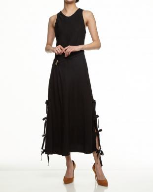 009 ブラック サイドスリット&テープ ウエストドロストドレス見る
