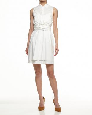 ホワイト ポプリンシャツ フロントラップレイヤードドレスセット見る