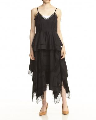 090 ブラック イレギュラーヘム レースキャミドレス見る