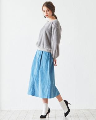 ライトブルー フロントタック台形スカート見る