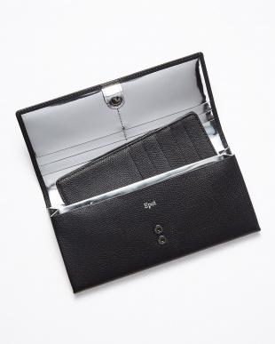 ブラック×シルバー 裏メタリック シボ革フラップ長財布見る