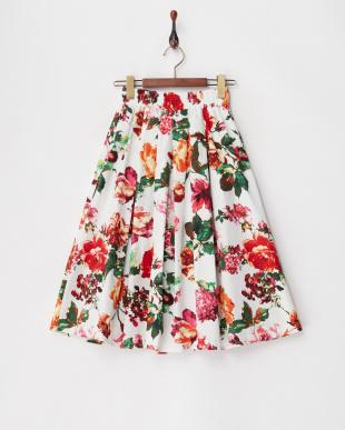 レッド フラワープリントギャザースカート見る