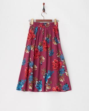 ピンク リネンレーヨン フラワープリントスカートを見る