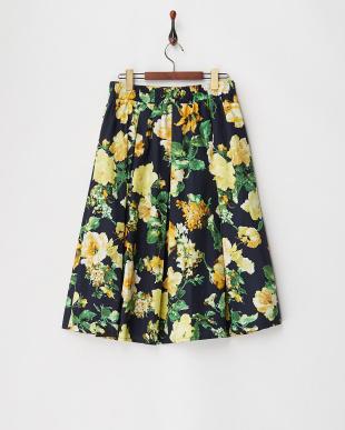 イエロー フラワープリントギャザースカートを見る