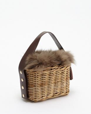 Burgundy Fur - Rectangle フォックスファー付きカゴバッグ見る