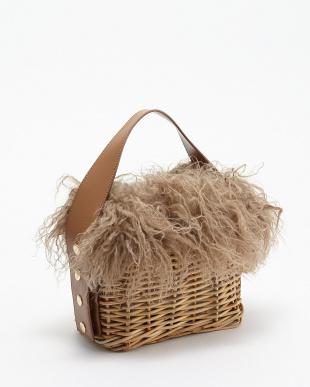 Brown Fur - Rectangle ラムファー付きカゴバッグ見る
