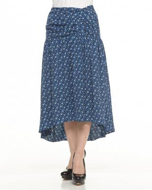 ブルー 小花柄ギャザースカートを見る