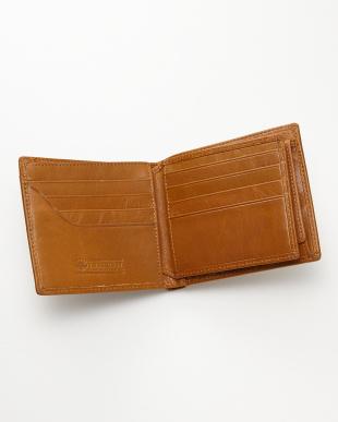ライトブラウン 牛革ヴィンテージ風2つ折り財布見る