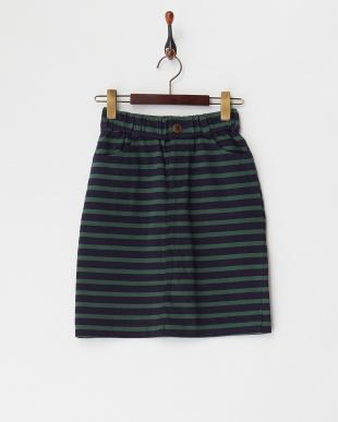 ネイビー×グリーン コットンボーダータイトスカートを見る