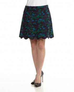 BLACK フェルトタッチ スカラップカットスカートを見る