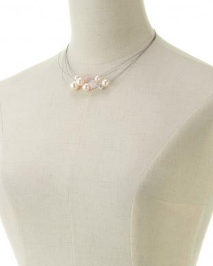 ピンク/ホワイト/シルバー パール+ローズクォーツ ミックスワイヤーネックレスを見る