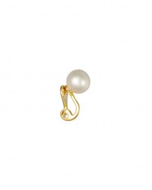 ホワイト/ゴールド パール10mm玉 一粒クリップイヤリングを見る