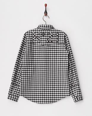 418 ブラック バックロゴ ギンガムチェック柄ワークシャツ|KIDS(34以上)見る