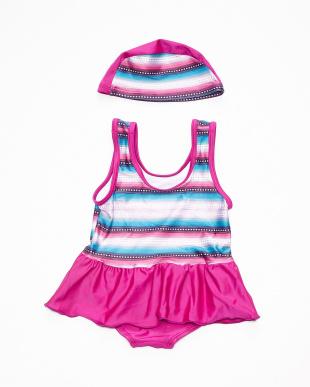 ピンク スイムスーツ キャップ付き|BABYを見る