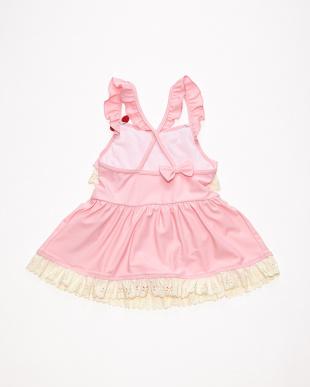 ピンク パンチングレースフリルワンピース水着を見る
