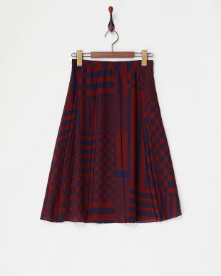 ワイン系 ブロックプリントプリーツスカートを見る