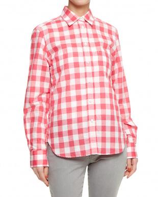 52 ピンク メンアサギンガムチェックシャツを見る