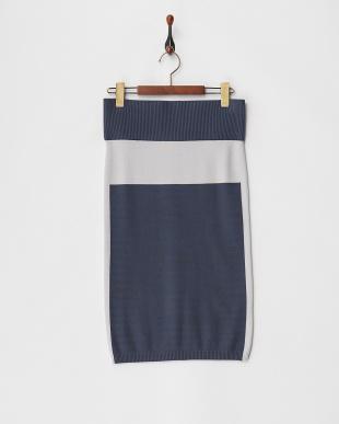チャコール ブルー×グレー リブ切り替えニットスカートを見る
