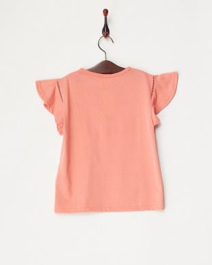 オレンジ 袖フリルフラワー刺繍カットソー(140以上)見る