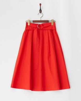 レッド 綿麻フレアスカートを見る