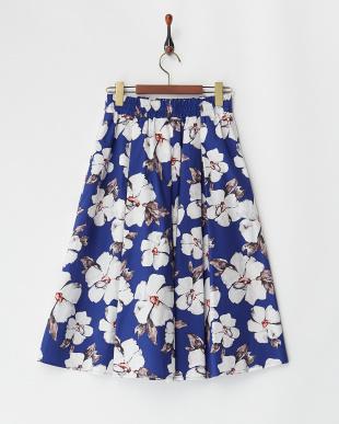 ブルー系 フラワープリント コットンフレアスカート見る