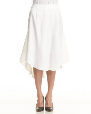 ホワイト white 変形ヘムデザインフレアスカートを見る