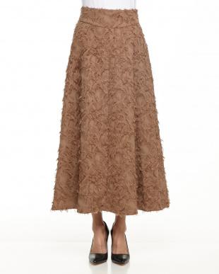 キャメル カットジャガードAラインロングスカートを見る