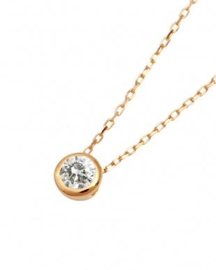K10PG 高級K10ゴールド 天然ダイヤモンド 0.1ct フクリン 一粒ペンダント見る