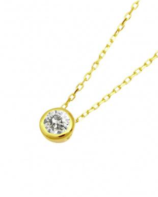 K10YG 高級K10ゴールド 天然ダイヤモンド 0.1ct フクリン 一粒ペンダント見る