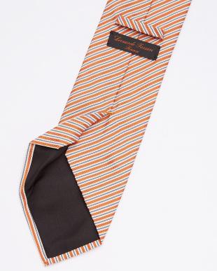 オレンジ ストライプ柄ネクタイ見る