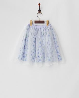 ブルー チュールレイヤード花柄スカートを見る